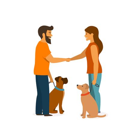 Dwóch właścicieli psów szkoli swoje zwierzęta, aby siadały blisko, zachowują się podczas spotkania, witając się nawzajem grafika