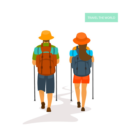 two hikers man and woman traveling, back view, isolated vector illustration graphic Foto de archivo - 114703481