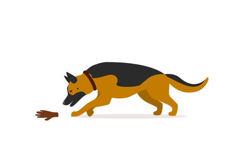 german shepherd mantrailing vector illustration graphic