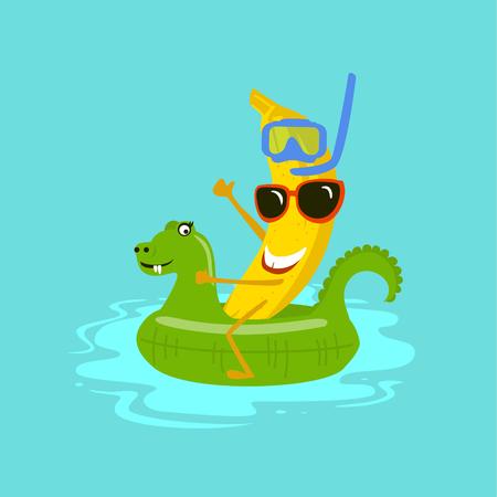 funny cartoon banana on vacation Illustration
