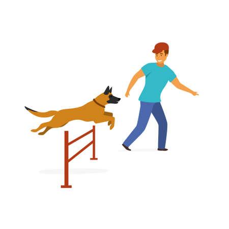 Exercice d'entraînement d'agilité de chien graphique vectoriel isolé
