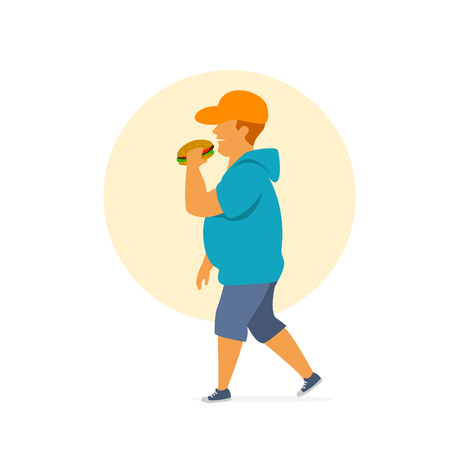 young overweight man eating fast food on the way graphic