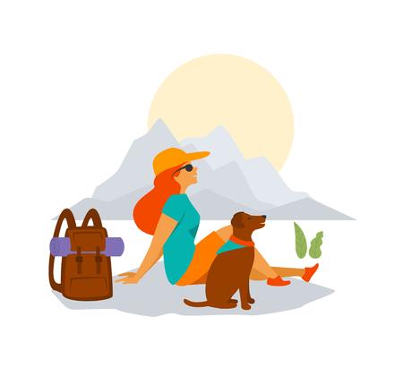 mujer y perro, viajar, excursionismo, juntos, gráfico