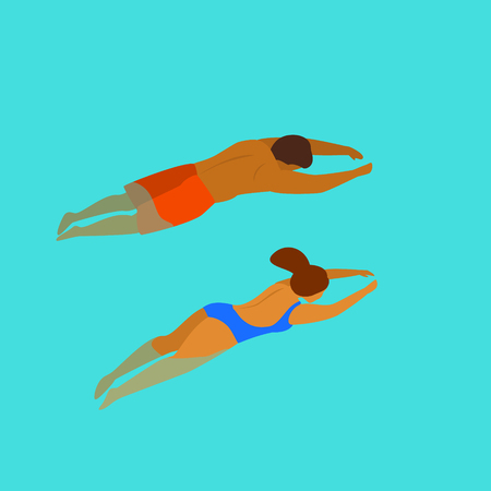 man and woman swimming diving in a pool backside from above view graphic Çizim