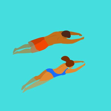 uomo e donna, nuoto, tuffo, in, uno, piscina, retro, da, sopra, vista, graphic
