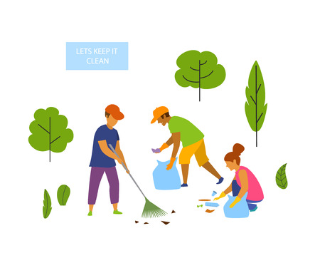 young people volunteers cleaning up the park isolated vector graphic scene Vettoriali
