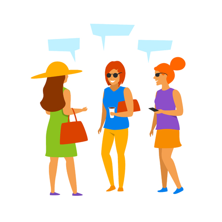 group of young women  talking communicating isolated vector illustration scene graphic