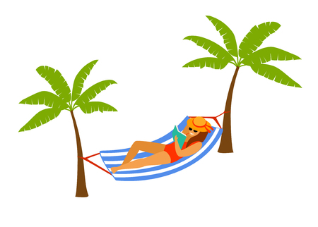woman lying in hammock on the beach, reading a book, relaxing isolated vector illustration Illustration