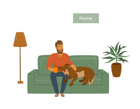 uomo con il suo cane sul divano a casa illustrazione vettoriale scena Vettoriali