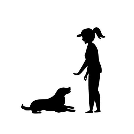 mujer entrenando a un perro comandos básicos silueta Ilustración de vector