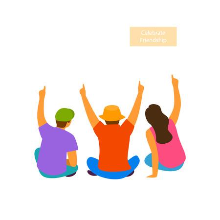 group of people friendsd sitting celebrating hands up backside view vector illustration scene