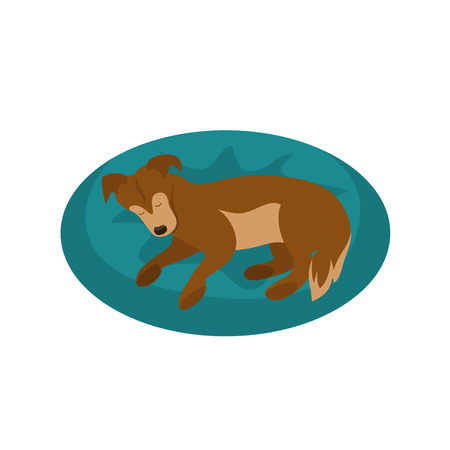 sleeping dog cute isolated cartoon vector illustration Vettoriali