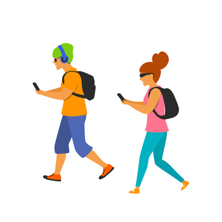 young man and woman walking with smartphones texting on the way Vecteurs