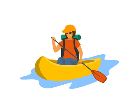 young woman traveling paddling canoe isolated vector illustration
