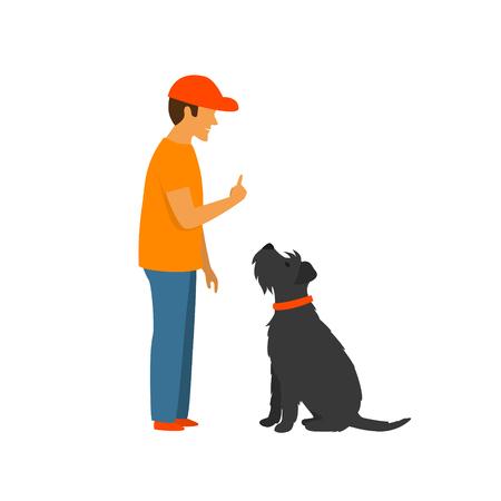Hombre enseñando a un perro a quedarse y sentarse, comandos básicos entrenamiento de obediencia escena de ilustración vectorial