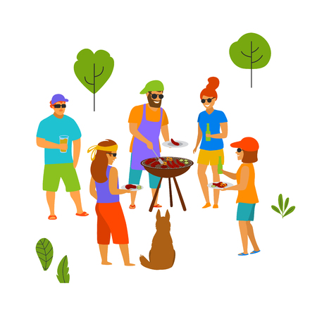 group of people friends at bbq party isolated vector scene