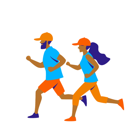 man and woman running  vector illustration isolated graphic  イラスト・ベクター素材