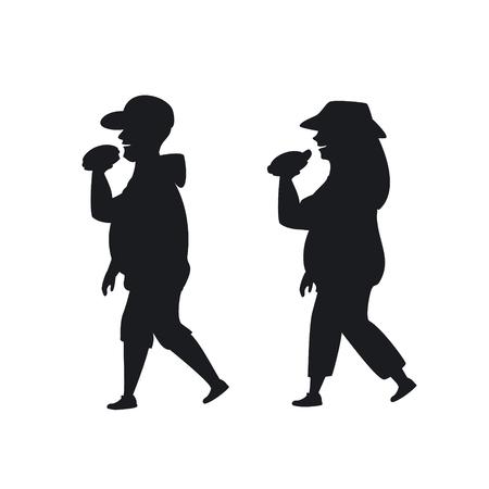 overweight man and woman walking eating fast foo on the way silhouette graphic Vektoros illusztráció