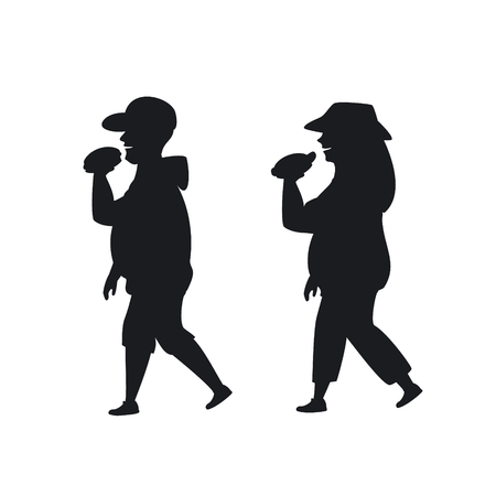 overweight man and woman walking eating fast foo on the way silhouette graphic Illustration