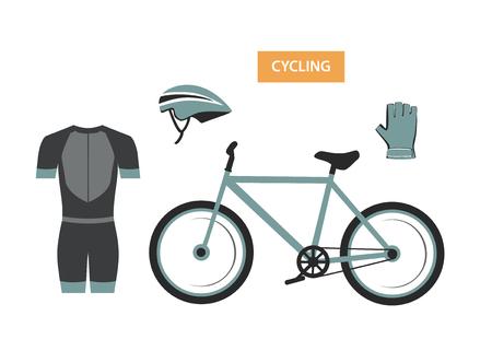 cycling equipment, helmet, suit, gloves, bike set