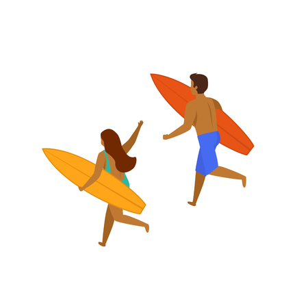 man and woman surfers running with surfboards on a beach, backside view