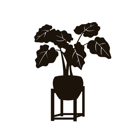 houseplant elephants ear in a vintage pot stand silhouette