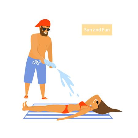 le persone si divertono sulla scena dell'illustrazione vettoriale della spiaggia Vettoriali