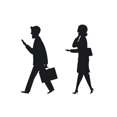 businessman and businesswoman walking to office working talking and texting on smartphones on the way silhouette Illustration