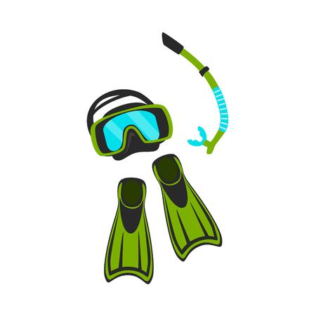 Máscara de snorkel y aletas aisladas ilustración vectorial