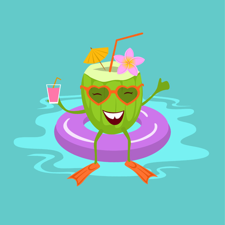 cute fun green cartoon coconut on vacation swimming in float in the see pool