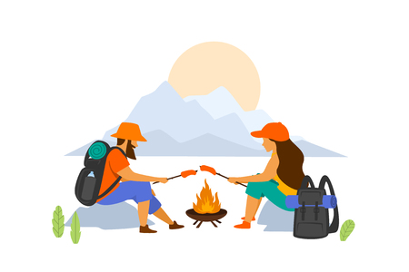 hiking couple sitting at campfire isolated vector graphic  scene Illustration