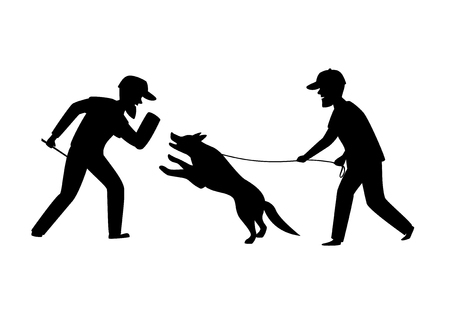 protection dog training exercise silhouette graphic