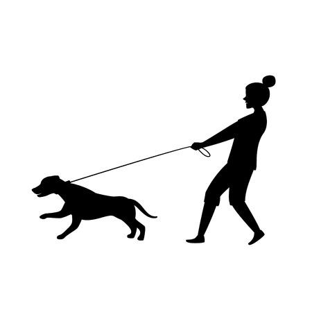 hond trekken aan de lijn silhouet vectorafbeelding