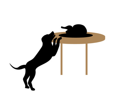 dog stealing human food silhouette vector graphic