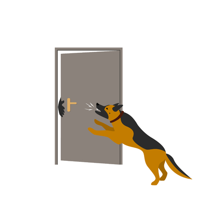 german shepherd dog protecting home from thieves vector illustration scene