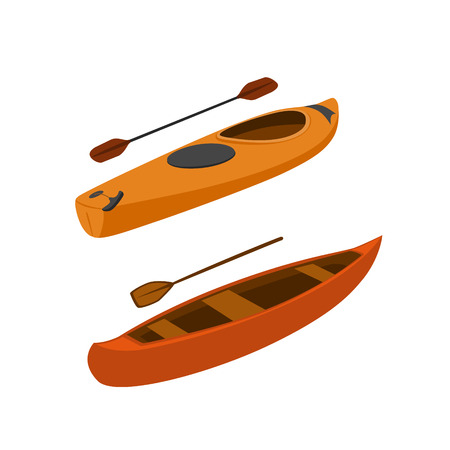 kayak and canoe boats isolated vector ilustration