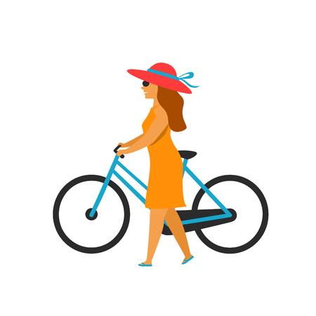 woman walking holding bike isolated vector illustration