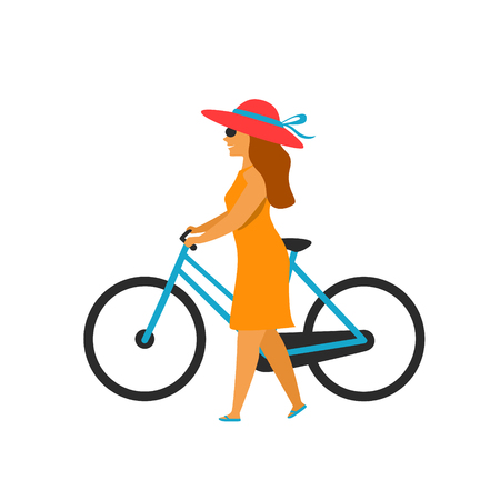 woman walking holding bike isolated vector illustration