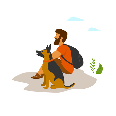 man traveling alone with his dog scene