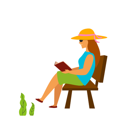 young woman reading book sitting on a bench in a park graphic