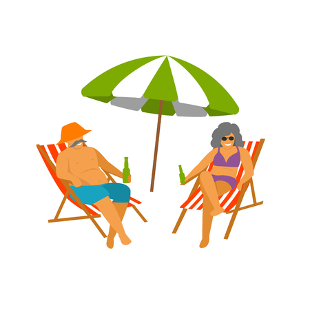 mature couple enjoying beach vacations isolated vector graphic Illustration
