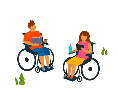 young man and woman with disabilities spend time in the park reading vector illustration graphic