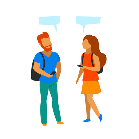 young man and woman meeting up, making contact, talking, isolated vector graphic