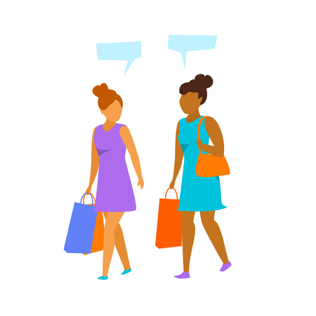 young woman walking with shopping bags, talking isolated vector ilustration graphic Illustration