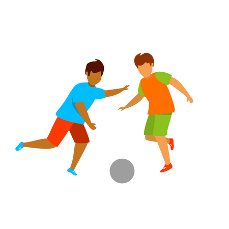 young men playng ball isolated vector graphic