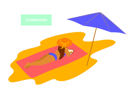 young woman relaxing sunbathing reading book on the beach vector graphic