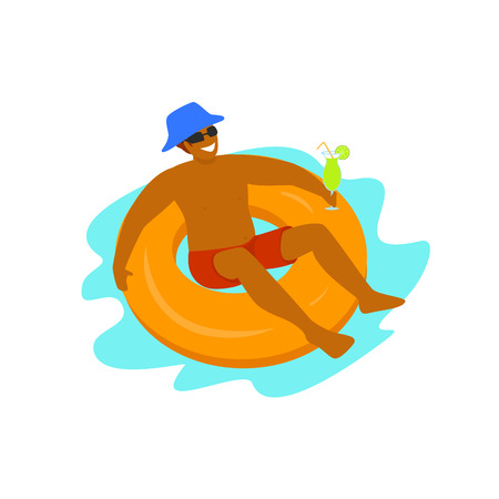 man relaxing swimming in inflatable float in the pool