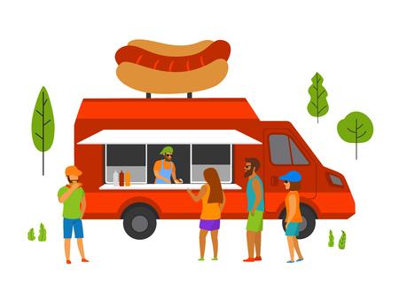 food truck in the park vector scene Illustration