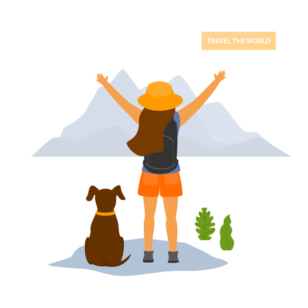 young happy traveling hiker girl with a dog, backside view, isolated vector illustration Illustration