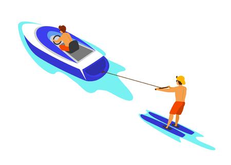 man waterskiing pulled behind speed boat